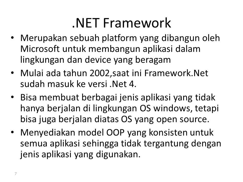 .NET Framework Merupakan sebuah platform yang dibangun oleh Microsoft untuk membangun aplikasi dalam lingkungan dan device yang beragam Mulai ada tahu
