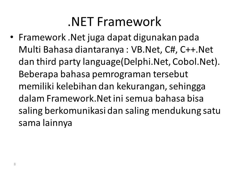.NET Framework Framework.Net juga dapat digunakan pada Multi Bahasa diantaranya : VB.Net, C#, C++.Net dan third party language(Delphi.Net, Cobol.Net).