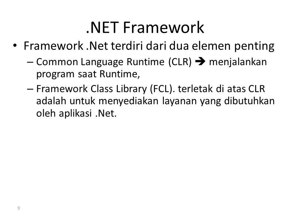 .NET Framework Framework.Net terdiri dari dua elemen penting – Common Language Runtime (CLR)  menjalankan program saat Runtime, – Framework Class Lib