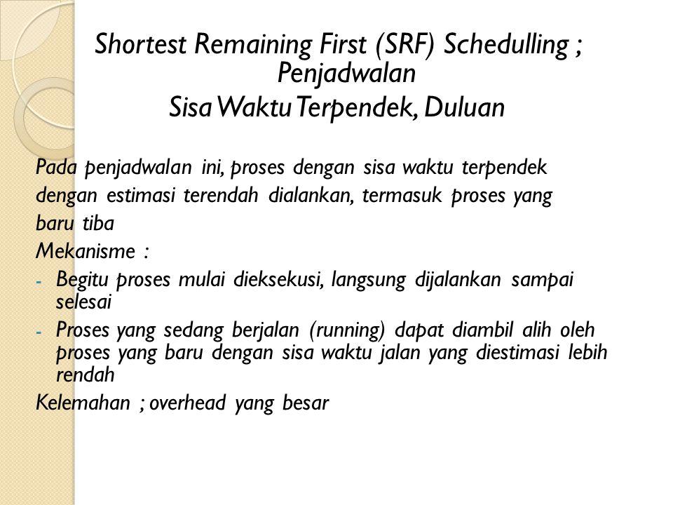 Shortest Remaining First (SRF) Schedulling ; Penjadwalan Sisa Waktu Terpendek, Duluan Pada penjadwalan ini, proses dengan sisa waktu terpendek dengan