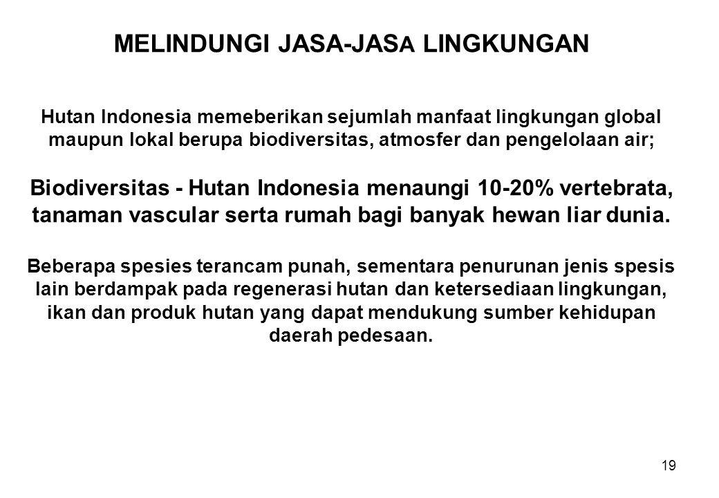 19 MELINDUNGI JASA-JAS A LINGKUNGAN Hutan Indonesia memeberikan sejumlah manfaat lingkungan global maupun lokal berupa biodiversitas, atmosfer dan pen