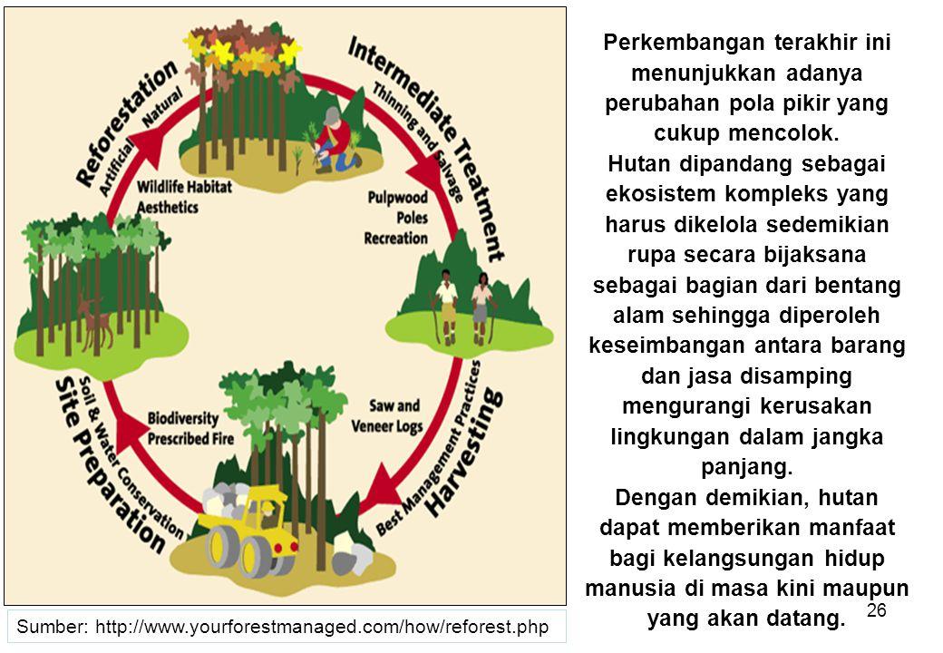 26 Perkembangan terakhir ini menunjukkan adanya perubahan pola pikir yang cukup mencolok. Hutan dipandang sebagai ekosistem kompleks yang harus dikelo