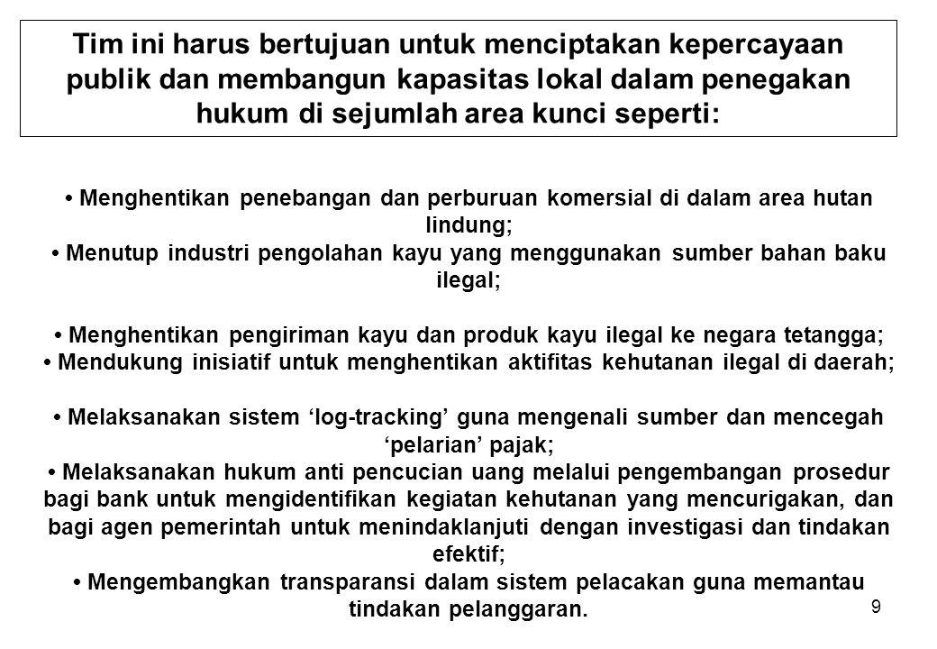 9 Tim ini harus bertujuan untuk menciptakan kepercayaan publik dan membangun kapasitas lokal dalam penegakan hukum di sejumlah area kunci seperti: Men