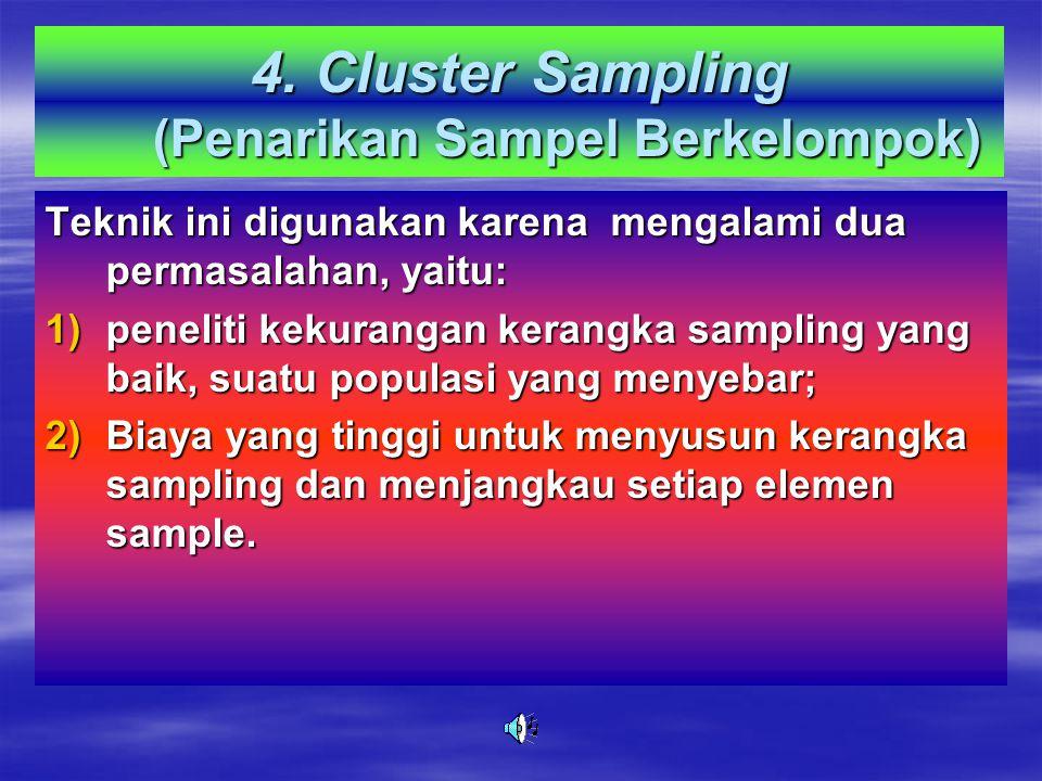 Syarat Stratified Random Sampling 1.Kriteria yang jelas untuk menstratifikasi 2.Ada data pendahuluan mengenai kriteria 3.Diketahui jumlah tiap lapisan