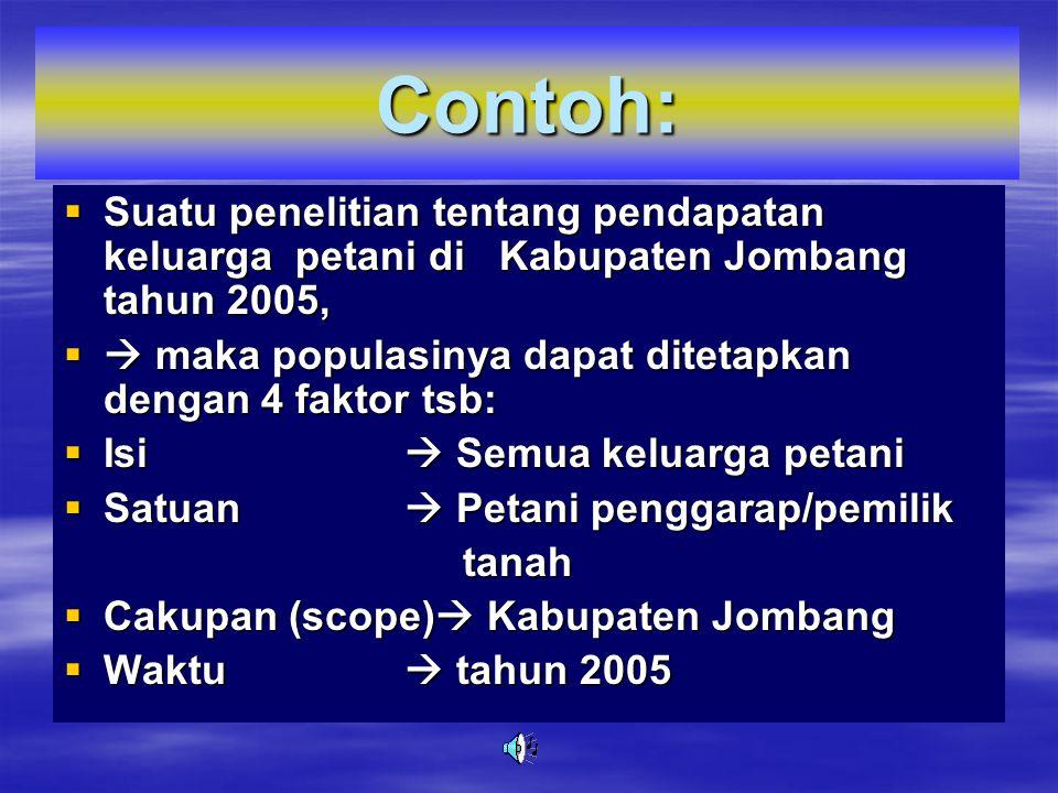Contoh:  Suatu penelitian tentang pendapatan keluarga petani di Kabupaten Jombang tahun 2005,  maka populasinya dapat ditetapkan dengan 4 faktor tsb:  Isi  Semua keluarga petani  Satuan  Petani penggarap/pemilik tanah tanah  Cakupan (scope)  Kabupaten Jombang  Waktu  tahun 2005