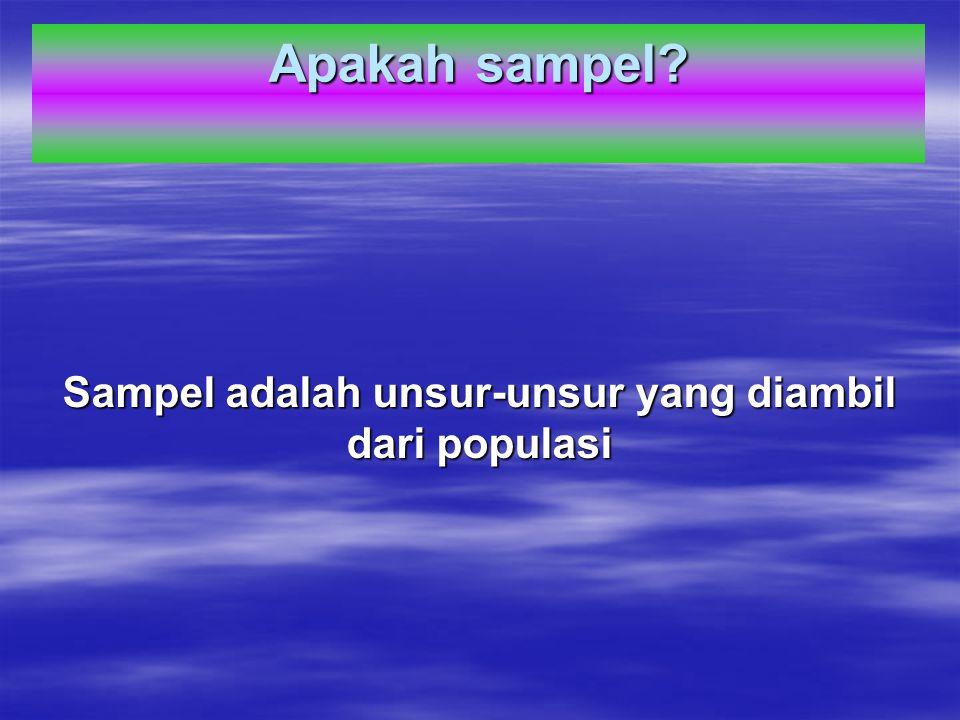 Apakah sampel? Sampel adalah unsur-unsur yang diambil dari populasi