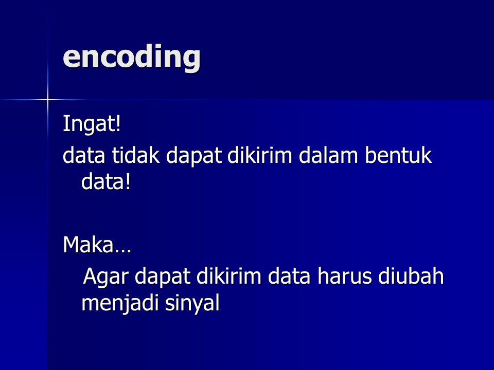 encoding Ingat! data tidak dapat dikirim dalam bentuk data! Maka… Agar dapat dikirim data harus diubah menjadi sinyal
