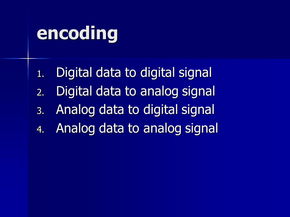 encoding 1.Digital data to digital signal 2. Digital data to analog signal 3.