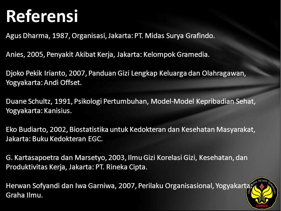 Referensi Agus Dharma, 1987, Organisasi, Jakarta: PT.