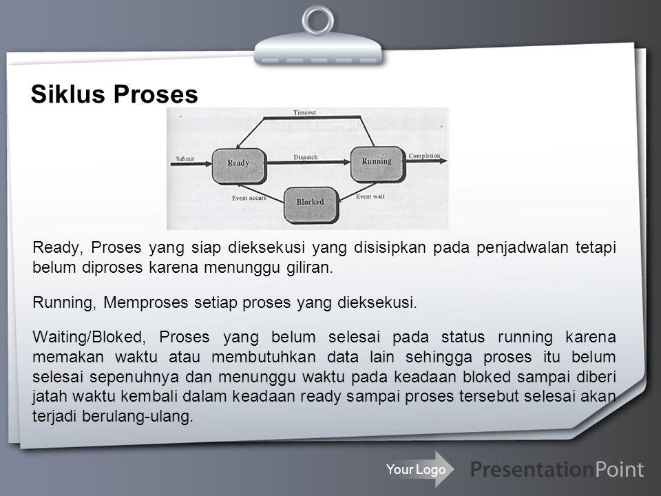 Your Logo Proses Control Block (PCB) Identifikasi Proses Informasi status proses Informasi kendali proses Stack pemakai Ruang alamat yang khusus diperuntukkan pemakai (program, data) Ruang alamat bersama PCB, informasi yang disediakan oleh SO mengenai proses yang aktif.