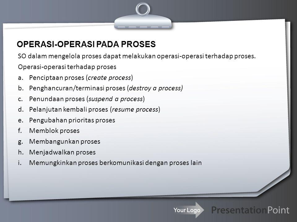 Your Logo OPERASI-OPERASI PADA PROSES SO dalam mengelola proses dapat melakukan operasi-operasi terhadap proses.