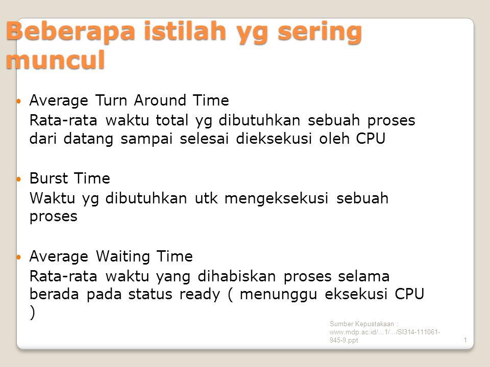 Sumber Kepustakaan : www.mdp.ac.id/...1/.../SI314-111061- 945-9.ppt1 Beberapa istilah yg sering muncul Average Turn Around Time Rata-rata waktu total yg dibutuhkan sebuah proses dari datang sampai selesai dieksekusi oleh CPU Burst Time Waktu yg dibutuhkan utk mengeksekusi sebuah proses Average Waiting Time Rata-rata waktu yang dihabiskan proses selama berada pada status ready ( menunggu eksekusi CPU )