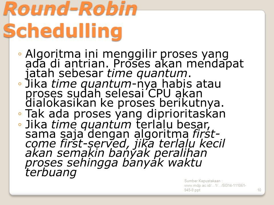 Sumber Kepustakaan : www.mdp.ac.id/...1/.../SI314-111061- 945-9.ppt10 Round-Robin Schedulling ◦Algoritma ini menggilir proses yang ada di antrian.
