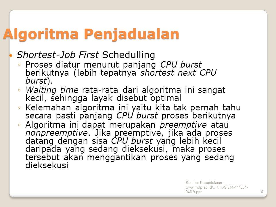 Sumber Kepustakaan : www.mdp.ac.id/...1/.../SI314-111061- 945-9.ppt17 Contoh Kasus SJF Non-preemptive Waiting Time P1 = 0 | P2 = ( 12 - 1 ) = 11 | P3 = ( 9 - 2 ) = 7 Turn Around Time P1 = 9 | P2 = 18 – 1 = 17 | P3 = 12 – 2 = 10 PROSESBURST TIMEWKT KEDATANGAN P190 P261 P332 Gant Chart : 0 TT 9 18 12 P3 P2 P1 T Average Waiting Time = = 6 0 + 11 + 7 3 Average Turn Arround Time = = 12 9 + 17 + 10 3