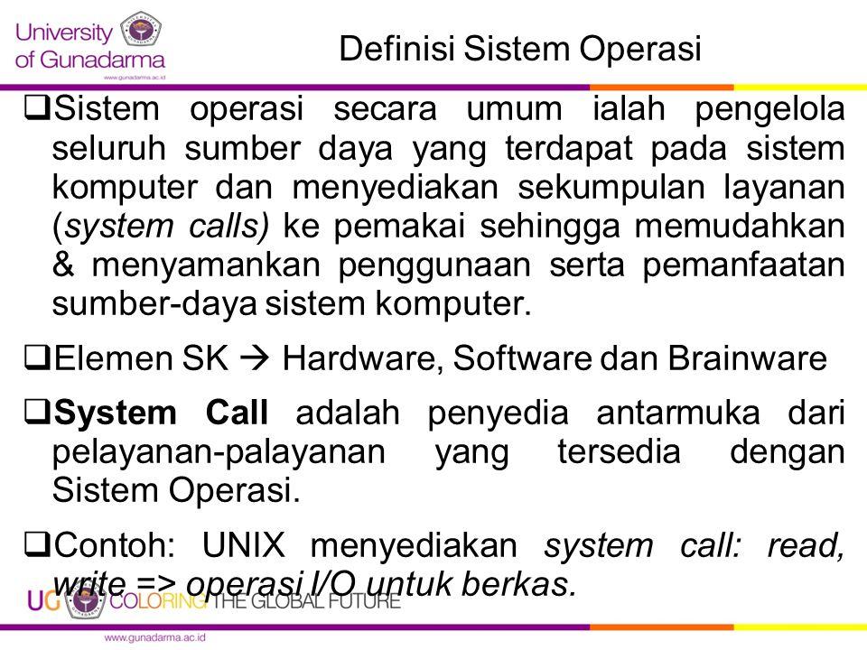 Definisi Sistem Operasi  Sistem operasi secara umum ialah pengelola seluruh sumber daya yang terdapat pada sistem komputer dan menyediakan sekumpulan layanan (system calls) ke pemakai sehingga memudahkan & menyamankan penggunaan serta pemanfaatan sumber-daya sistem komputer.
