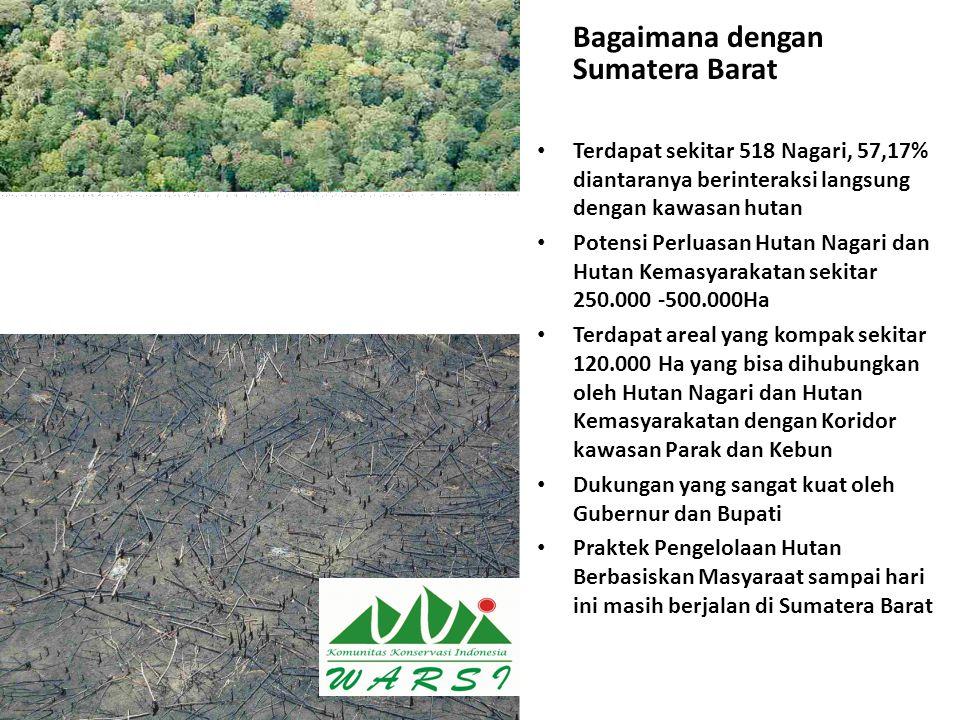 Bagaimana dengan Sumatera Barat Terdapat sekitar 518 Nagari, 57,17% diantaranya berinteraksi langsung dengan kawasan hutan Potensi Perluasan Hutan Nag