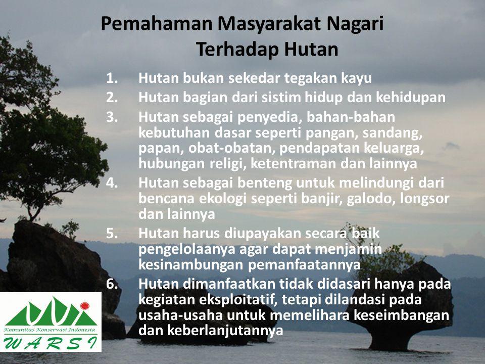 Pemahaman Masyarakat Nagari Terhadap Hutan 1.Hutan bukan sekedar tegakan kayu 2.Hutan bagian dari sistim hidup dan kehidupan 3.Hutan sebagai penyedia,
