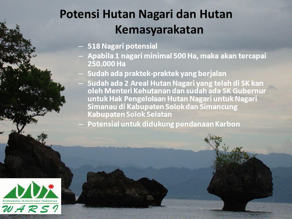 Potensi Hutan Nagari dan Hutan Kemasyarakatan – 518 Nagari potensial – Apabila 1 nagari minimal 500 Ha, maka akan tercapai 250.000 Ha – Sudah ada prak