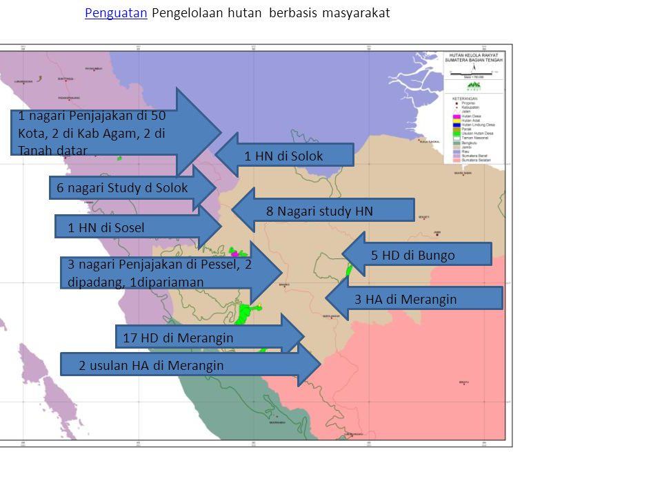 PenguatanPenguatan Pengelolaan hutan berbasis masyarakat 1 HN di Solok 1 HN di Sosel 8 Nagari study HN 5 HD di Bungo 17 HD di Merangin 3 HA di Merangi