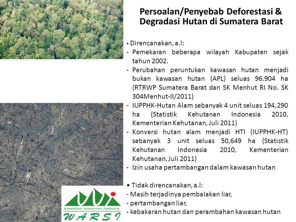 Persoalan/Penyebab Deforestasi & Degradasi Hutan di Sumatera Barat Direncanakan, a.l: -Pemekaran beberapa wilayah Kabupaten sejak tahun 2002. -Perubah
