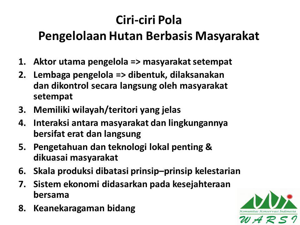 Ciri-ciri Pola Pengelolaan Hutan Berbasis Masyarakat 1.Aktor utama pengelola => masyarakat setempat 2.Lembaga pengelola => dibentuk, dilaksanakan dan