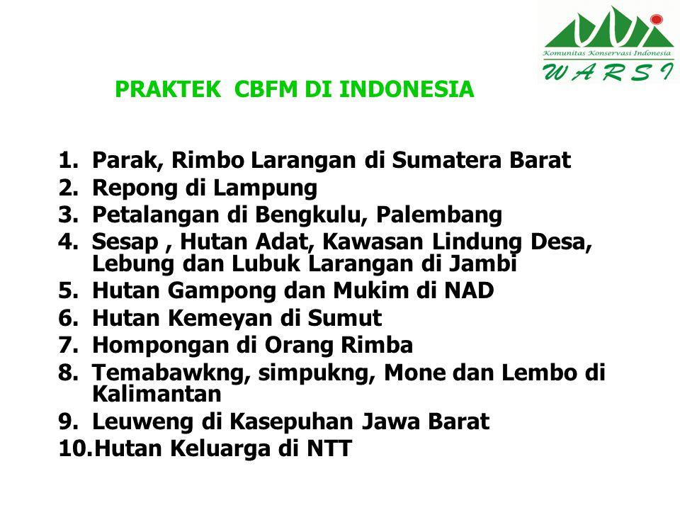 PRAKTEK CBFM DI INDONESIA 1.Parak, Rimbo Larangan di Sumatera Barat 2.Repong di Lampung 3.Petalangan di Bengkulu, Palembang 4.Sesap, Hutan Adat, Kawas