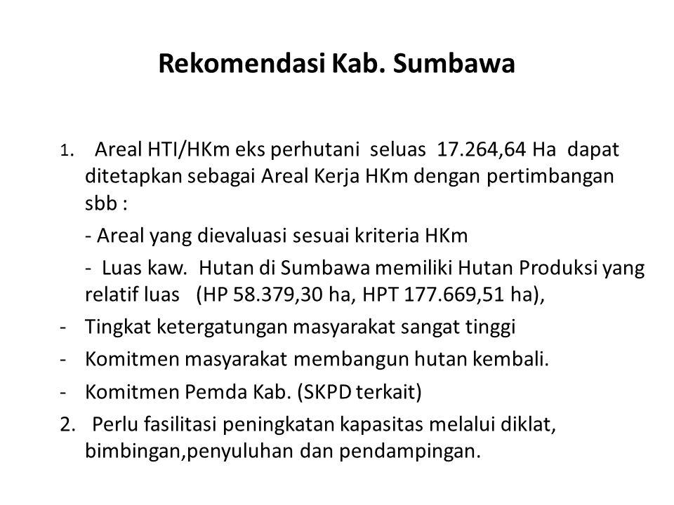 Rekomendasi Kab. Sumbawa 1. Areal HTI/HKm eks perhutani seluas 17.264,64 Ha dapat ditetapkan sebagai Areal Kerja HKm dengan pertimbangan sbb : - Areal