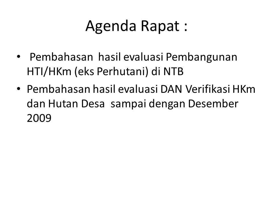 Tujuan rapat : Membahas hasil evaluasi HKm di NTB (Eks Perhutani) Menelaah capaian pelaksanaan kebijakan dan program HKm dan Hutan Desa serta permasalahan dan kendalanya Memformulasikan penyelesaian masalah dan langkah-langkah strategis