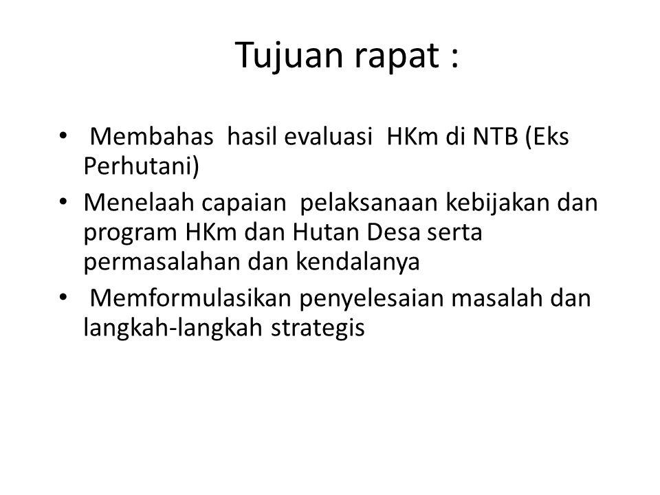 Tujuan rapat : Membahas hasil evaluasi HKm di NTB (Eks Perhutani) Menelaah capaian pelaksanaan kebijakan dan program HKm dan Hutan Desa serta permasal