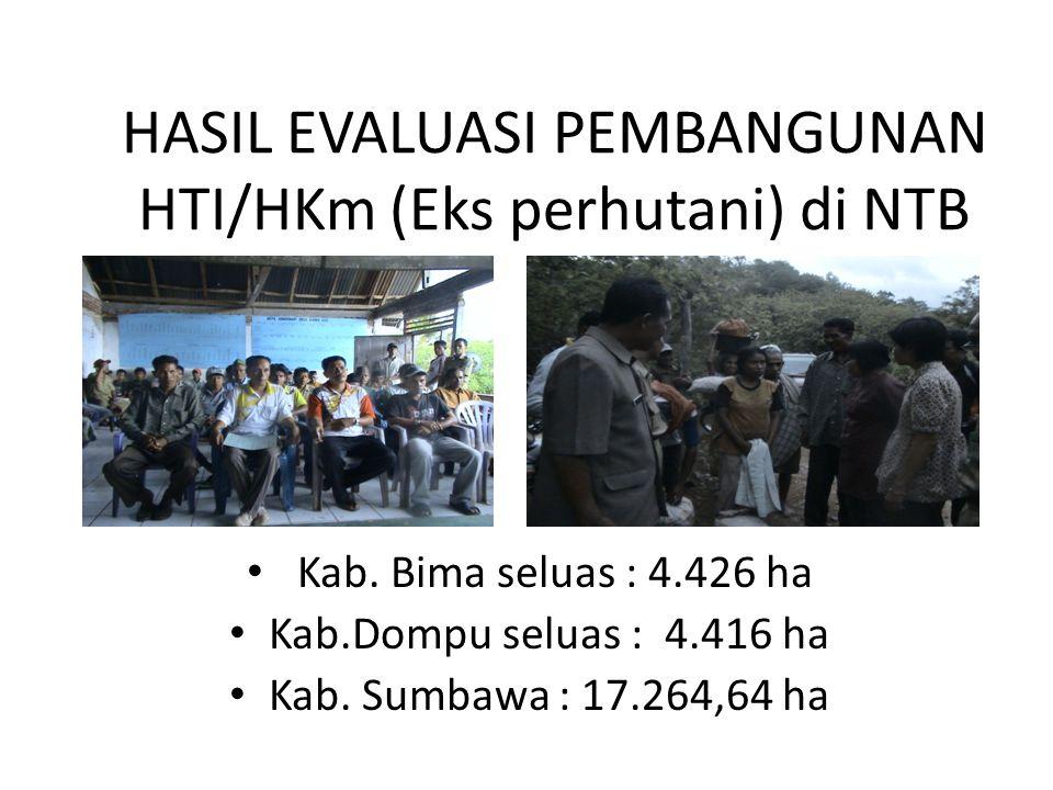 HASIL EVALUASI PEMBANGUNAN HTI/HKm (Eks perhutani) di NTB Kab. Bima seluas : 4.426 ha Kab.Dompu seluas : 4.416 ha Kab. Sumbawa : 17.264,64 ha