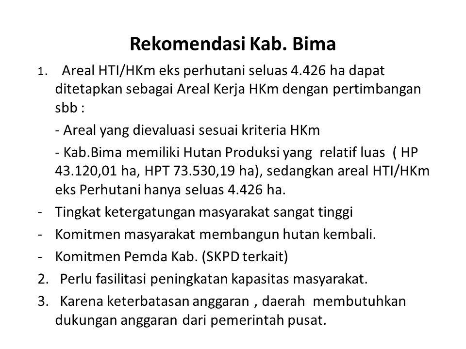 Rekomendasi Kab. Bima 1. Areal HTI/HKm eks perhutani seluas 4.426 ha dapat ditetapkan sebagai Areal Kerja HKm dengan pertimbangan sbb : - Areal yang d