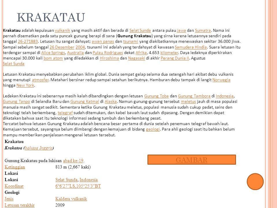 KRAKATAU Krakatau Krakatoa (bahasa Inggris)bahasa Inggris Gunung Krakatau pada lukisan abad ke-19.abad ke-19 Ketinggian813 m (2,667 kaki) Lokasi Selat
