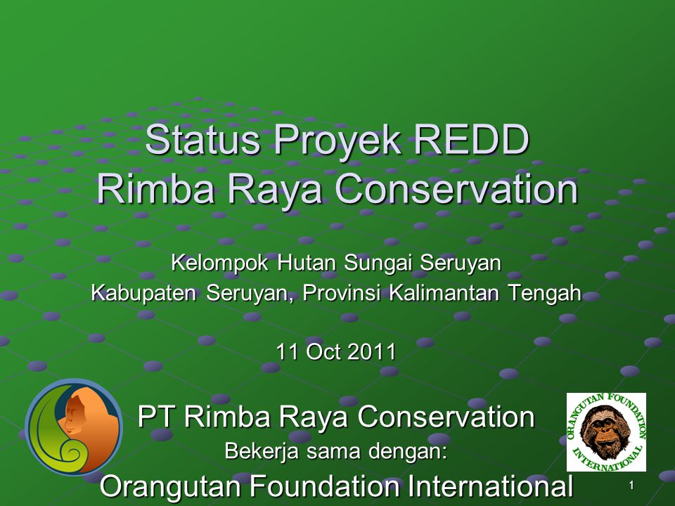 1 Status Proyek REDD Rimba Raya Conservation Kelompok Hutan Sungai Seruyan Kabupaten Seruyan, Provinsi Kalimantan Tengah 11 Oct 2011 PT Rimba Raya Con