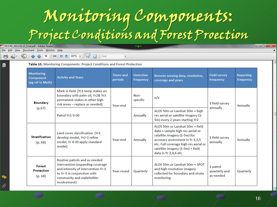 Monitoring Components: Project Conditions and Forest Proection 16