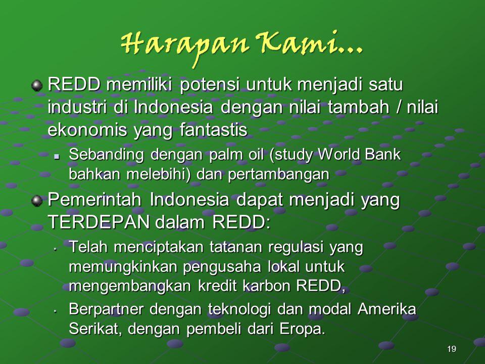 Harapan Kami... REDD memiliki potensi untuk menjadi satu industri di Indonesia dengan nilai tambah / nilai ekonomis yang fantastis Sebanding dengan pa