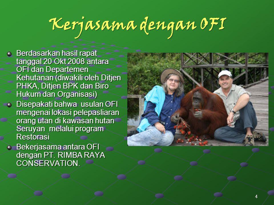4 Kerjasama dengan OFI Berdasarkan hasil rapat tanggal 20 Okt 2008 antara OFI dan Departemen Kehutanan (diwakili oleh Ditjen PHKA, Ditjen BPK dan Biro