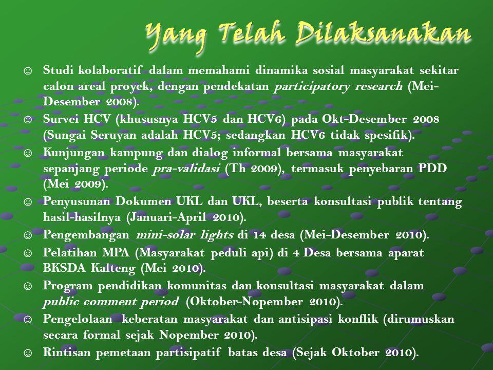 Budidaya lahan pekarangan di Desa Muara Dua, Tanjung Hanau, dan Baung oleh kelompok perempuan (difasilitasi WE) Budidaya Jelutung (Dyera lowii) di 5 Desa oleh kelompok tani lokal (difasilitasi WE)