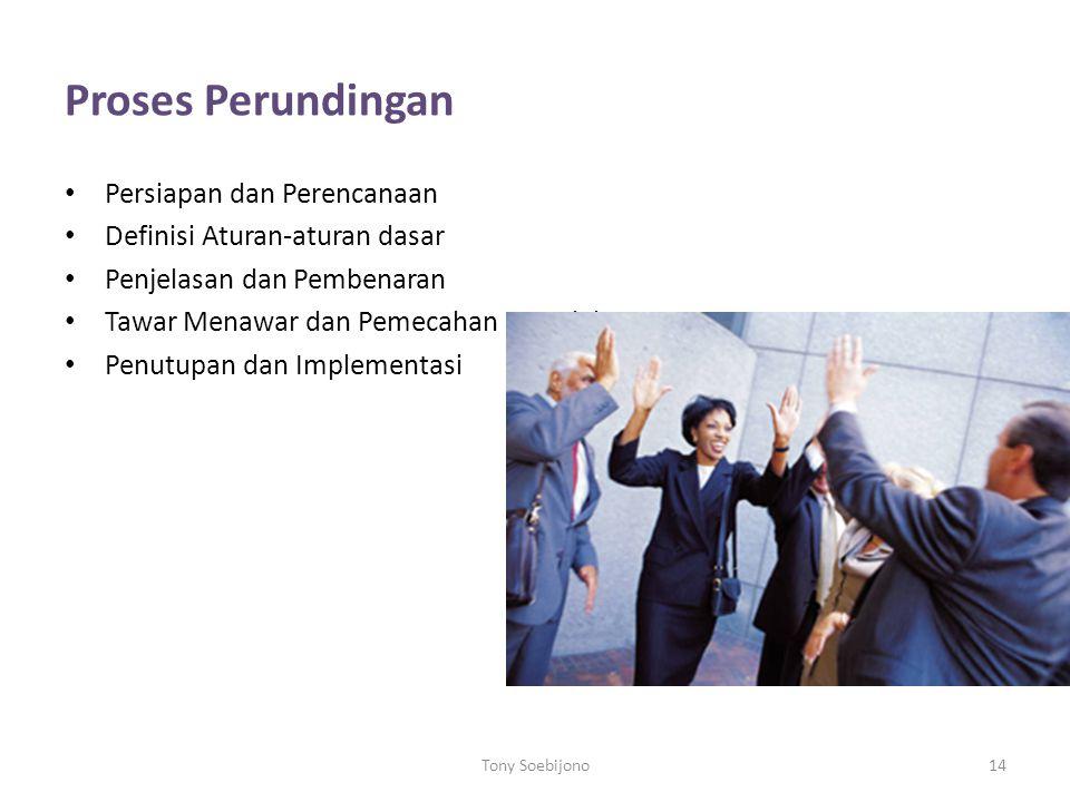 Proses Perundingan Persiapan dan Perencanaan Definisi Aturan-aturan dasar Penjelasan dan Pembenaran Tawar Menawar dan Pemecahan Masalah Penutupan dan Implementasi Tony Soebijono14