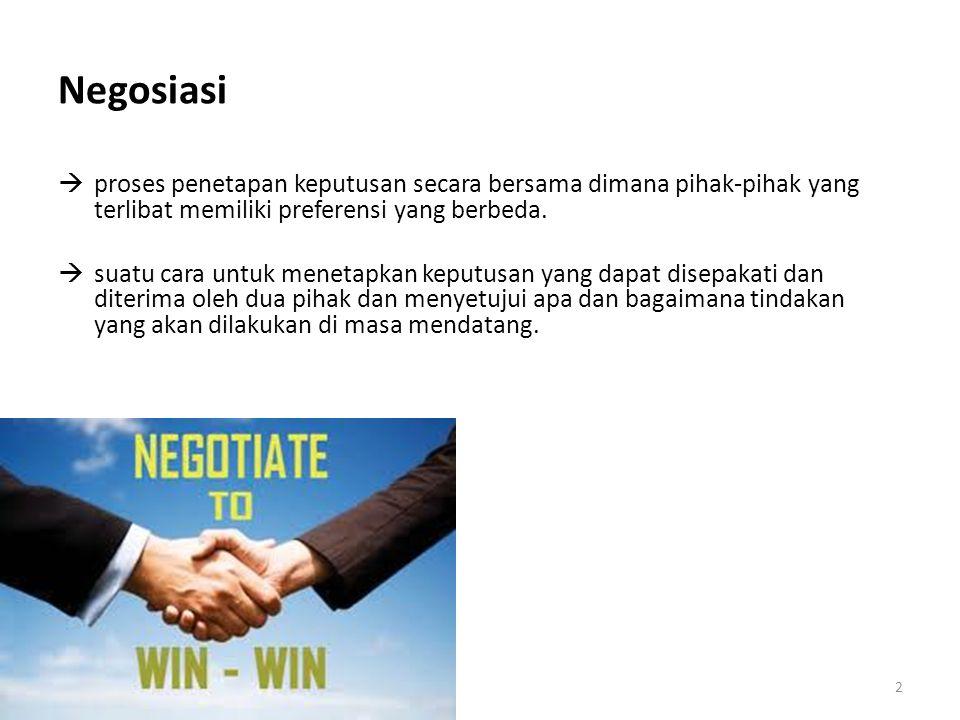 2 Negosiasi  proses penetapan keputusan secara bersama dimana pihak-pihak yang terlibat memiliki preferensi yang berbeda.  suatu cara untuk menetapk