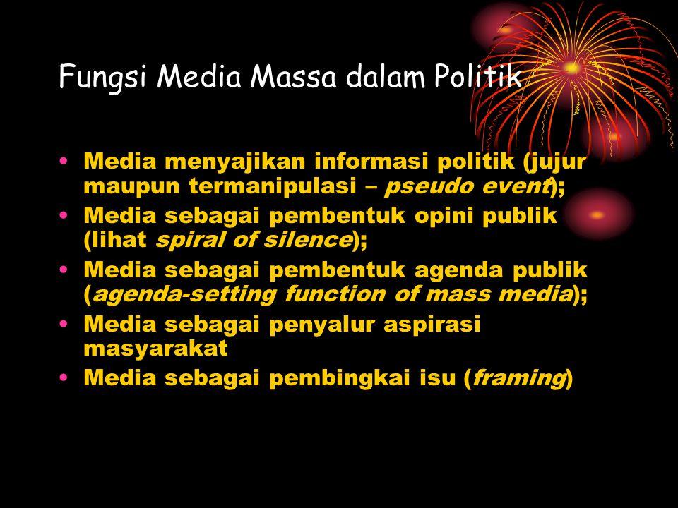 Fungsi Media Massa dalam Politik Media menyajikan informasi politik (jujur maupun termanipulasi – pseudo event); Media sebagai pembentuk opini publik