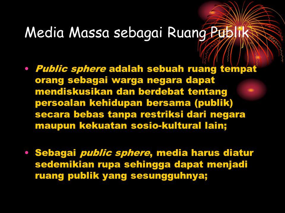 Media Massa sebagai Ruang Publik Public sphere adalah sebuah ruang tempat orang sebagai warga negara dapat mendiskusikan dan berdebat tentang persoala