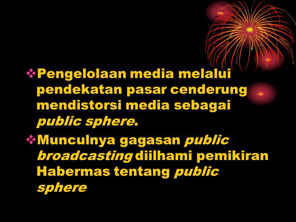  Pengelolaan media melalui pendekatan pasar cenderung mendistorsi media sebagai public sphere.  Munculnya gagasan public broadcasting diilhami pemik