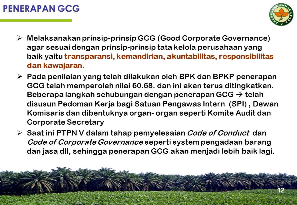 PENERAPAN GCG  Melaksanakan prinsip-prinsip GCG (Good Corporate Governance) agar sesuai dengan prinsip-prinsip tata kelola perusahaan yang baik yaitu transparansi, kemandirian, akuntabilitas, responsibilitas dan kawajaran.