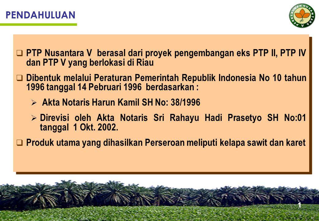 PENDAHULUAN  PTP Nusantara V berasal dari proyek pengembangan eks PTP II, PTP IV dan PTP V yang berlokasi di Riau  Dibentuk melalui Peraturan Pemerintah Republik Indonesia No 10 tahun 1996 tanggal 14 Pebruari 1996 berdasarkan :  Akta Notaris Harun Kamil SH No: 38/1996  Direvisi oleh Akta Notaris Sri Rahayu Hadi Prasetyo SH No:01 tanggal 1 Okt.