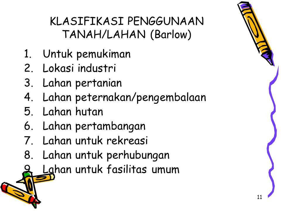 11 KLASIFIKASI PENGGUNAAN TANAH/LAHAN (Barlow) 1.Untuk pemukiman 2.Lokasi industri 3.Lahan pertanian 4.Lahan peternakan/pengembalaan 5.Lahan hutan 6.L
