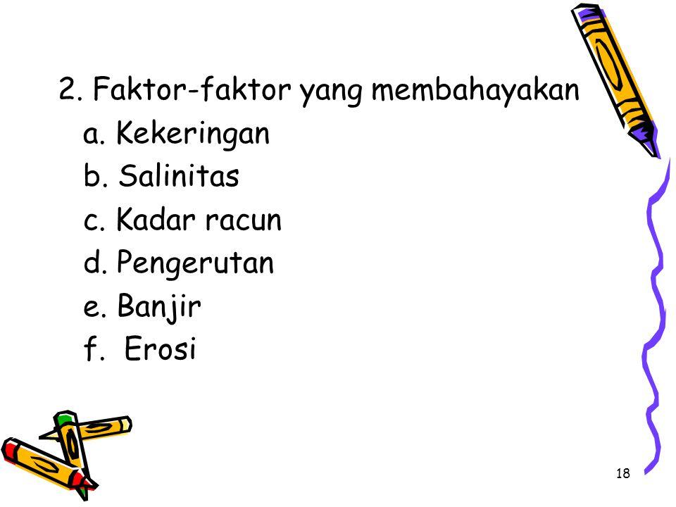 18 2. Faktor-faktor yang membahayakan a. Kekeringan b. Salinitas c. Kadar racun d. Pengerutan e. Banjir f. Erosi