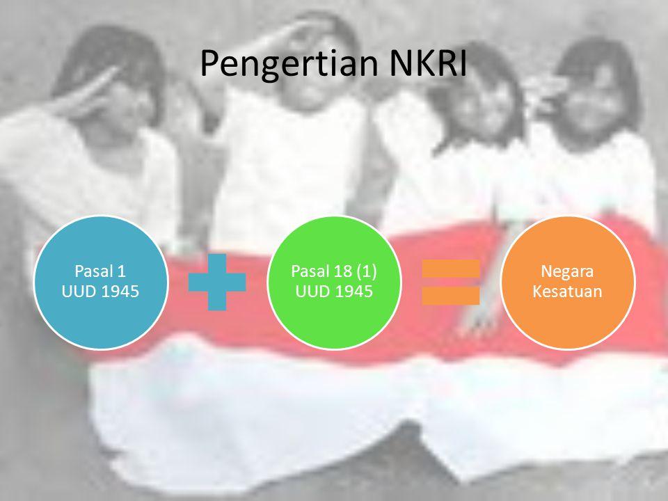 Tujuan NKRI Melindungi segenap bangsa IndonesiaMemajukan kesejahteraan umum Mencerdaskan kehidupan bangsa Ikut melaksanakan ketertiban Dunia yang berdasarkan kemerdekaan, perdamaian abadi, dan keadilan sosial PEMBUKAAN UUD 1945