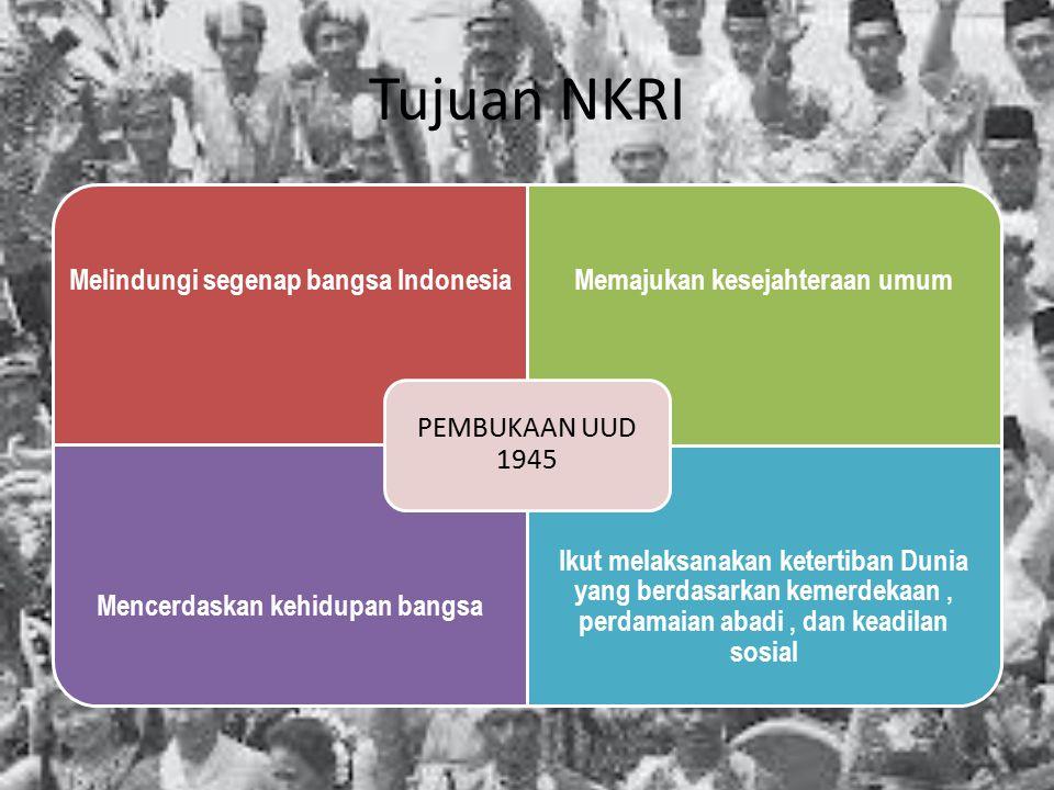 Tujuan NKRI Melindungi segenap bangsa IndonesiaMemajukan kesejahteraan umum Mencerdaskan kehidupan bangsa Ikut melaksanakan ketertiban Dunia yang berd