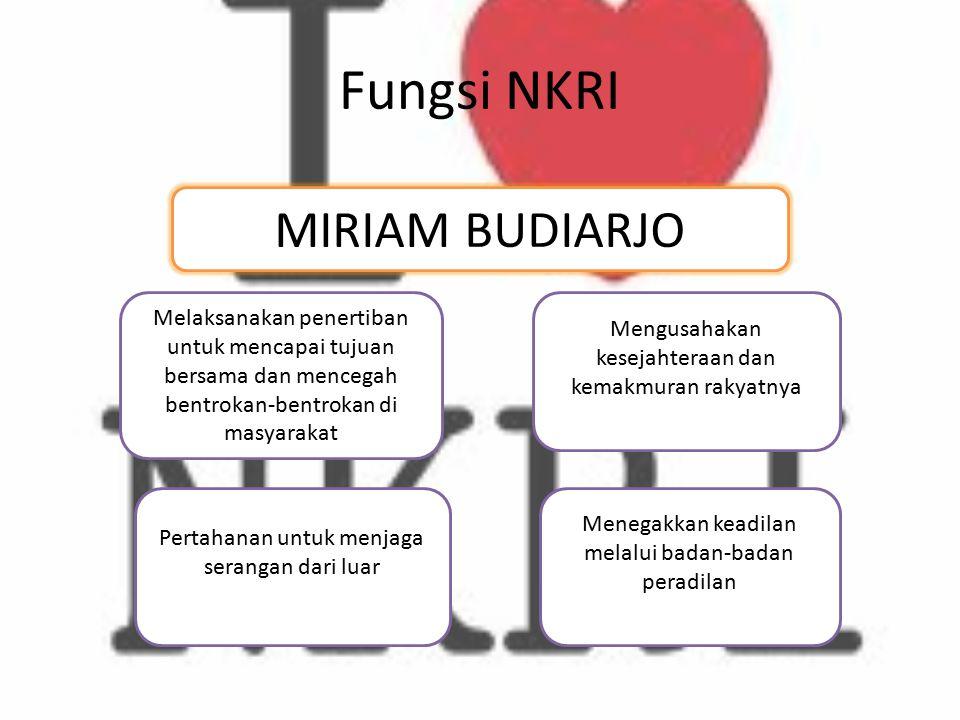 Fungsi NKRI MIRIAM BUDIARJO Melaksanakan penertiban untuk mencapai tujuan bersama dan mencegah bentrokan-bentrokan di masyarakat Menegakkan keadilan m