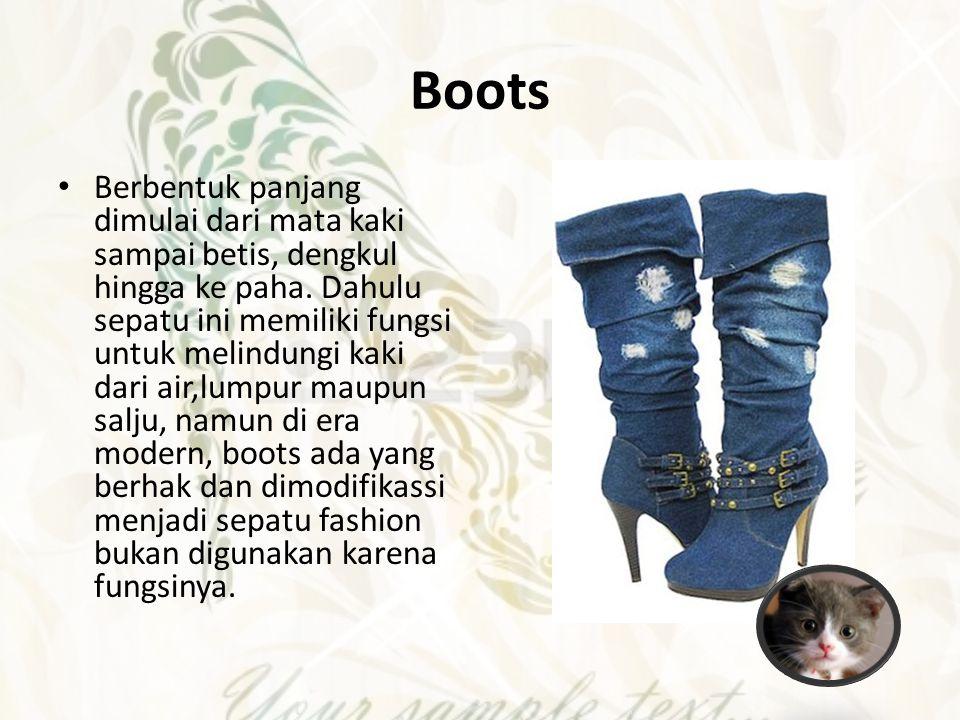 Boots Berbentuk panjang dimulai dari mata kaki sampai betis, dengkul hingga ke paha. Dahulu sepatu ini memiliki fungsi untuk melindungi kaki dari air,